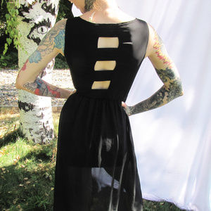 High Low Black Dress with Cutouts
